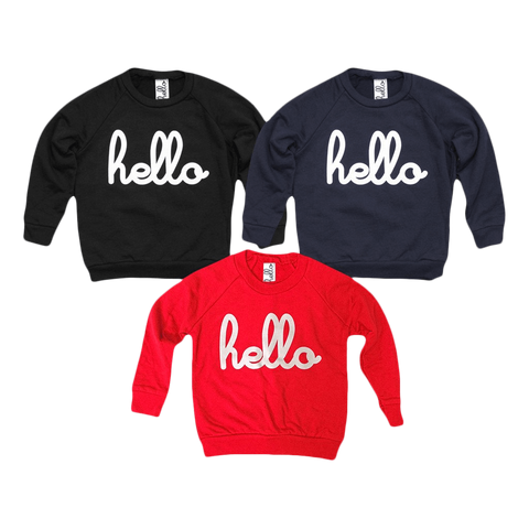 Hello (Kids) Raglan Pullovers