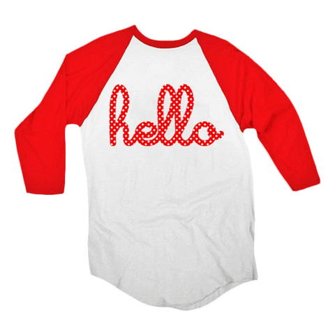 Hello Minnie (Adult & Kids) Red 3/4 Sleeve Raglan