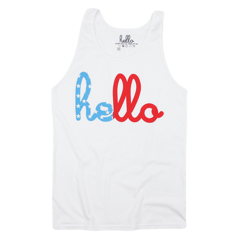 Hello Red, White & Blue (Adult) Tank Top