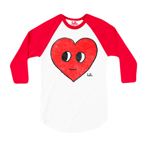 Happy Heart (Kids) White & Red 3/4 Sleeve Raglan