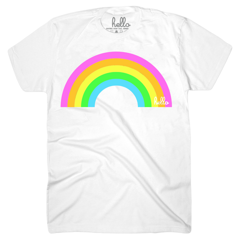 Hello Neon Rainbow (Adult & Kids) White T-Shirt