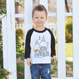 Go Outside (Kids) White & Black 3/4 Sleeve Raglan