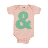Peace & Love (Babies) Peach Tri-Blend One-Piece with snaps