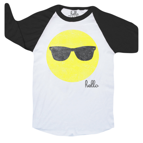 Emoji Sunglasses (Adult & Kids) White & Black 3/4 Sleeve Raglan