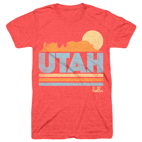 Hello Utah (Adult) Red Tri-Blend T-Shirt