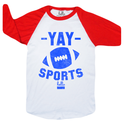 Yay Sports (Adult & Kids) White & Red 3/4 Sleeve Raglan