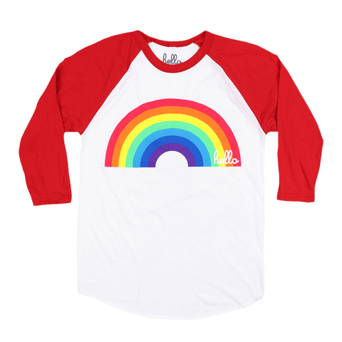 Rainbow (Adult & Kids) White & Red 3/4 Sleeve Raglan