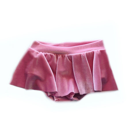 BABY PINK VELVET SKIRTED BUMMIES