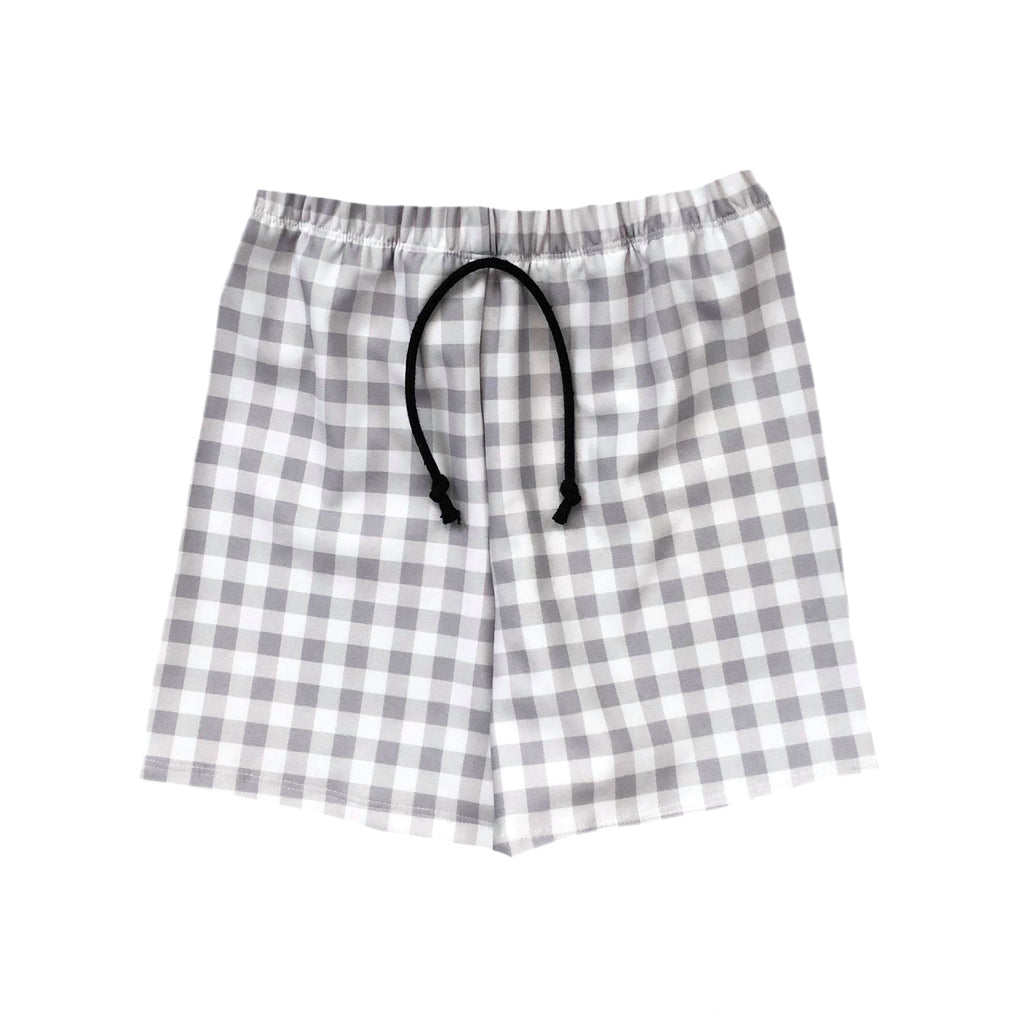 GRAY GINGHAM BOARD SHORT/EUROS