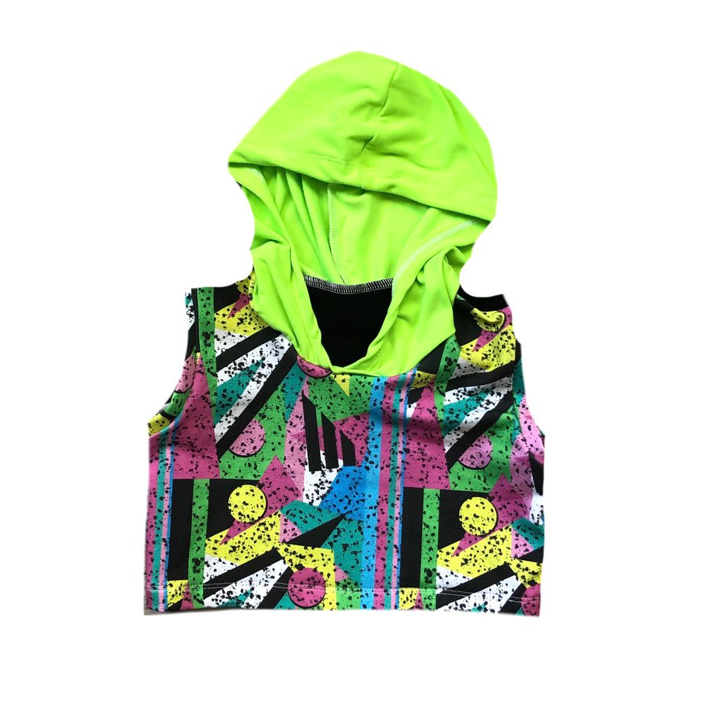 80's SHAPE SPLATTER WITH DBP LIME CROP TANK HOODIE