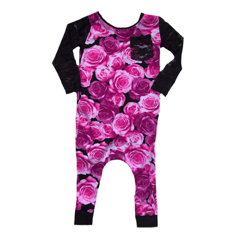 HOT PINK FLORAL ON BLACK LACE