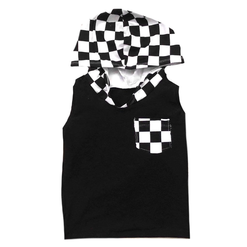 BLACK ON CHECKERED WITH POCKET TANK HOODIE