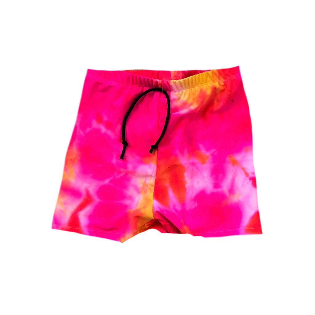 PINK/ORANGE NEON TIE DYE SPANDEX BOARD SHORT/EUROS