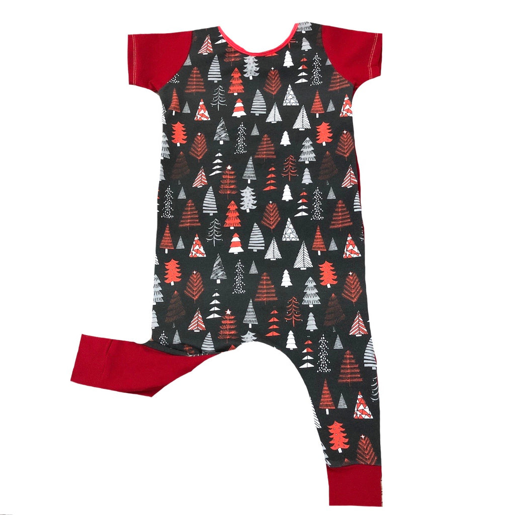 CHRISTMAS TREES HOLIDAY WITH RED ON RAGLAN/ROMPER