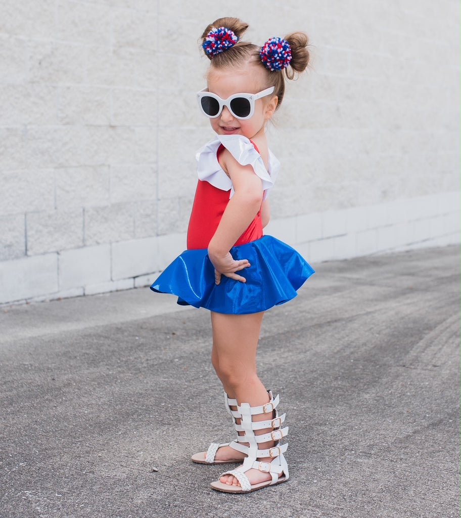 RED WHITE & BLUE FLUTTER SLEEVE SKIRTED LEOTARD