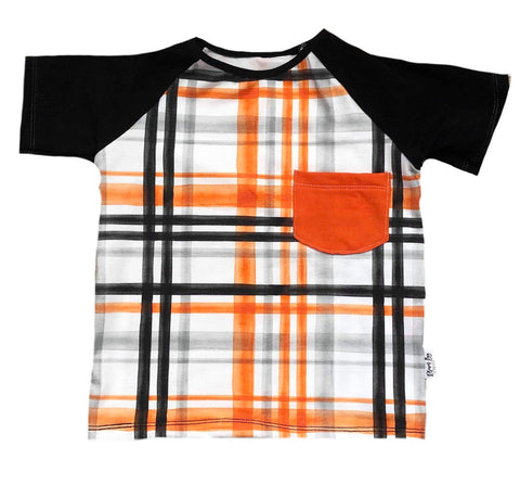 HALLOWEEN PLAID ON RAGLAN/ROMPER