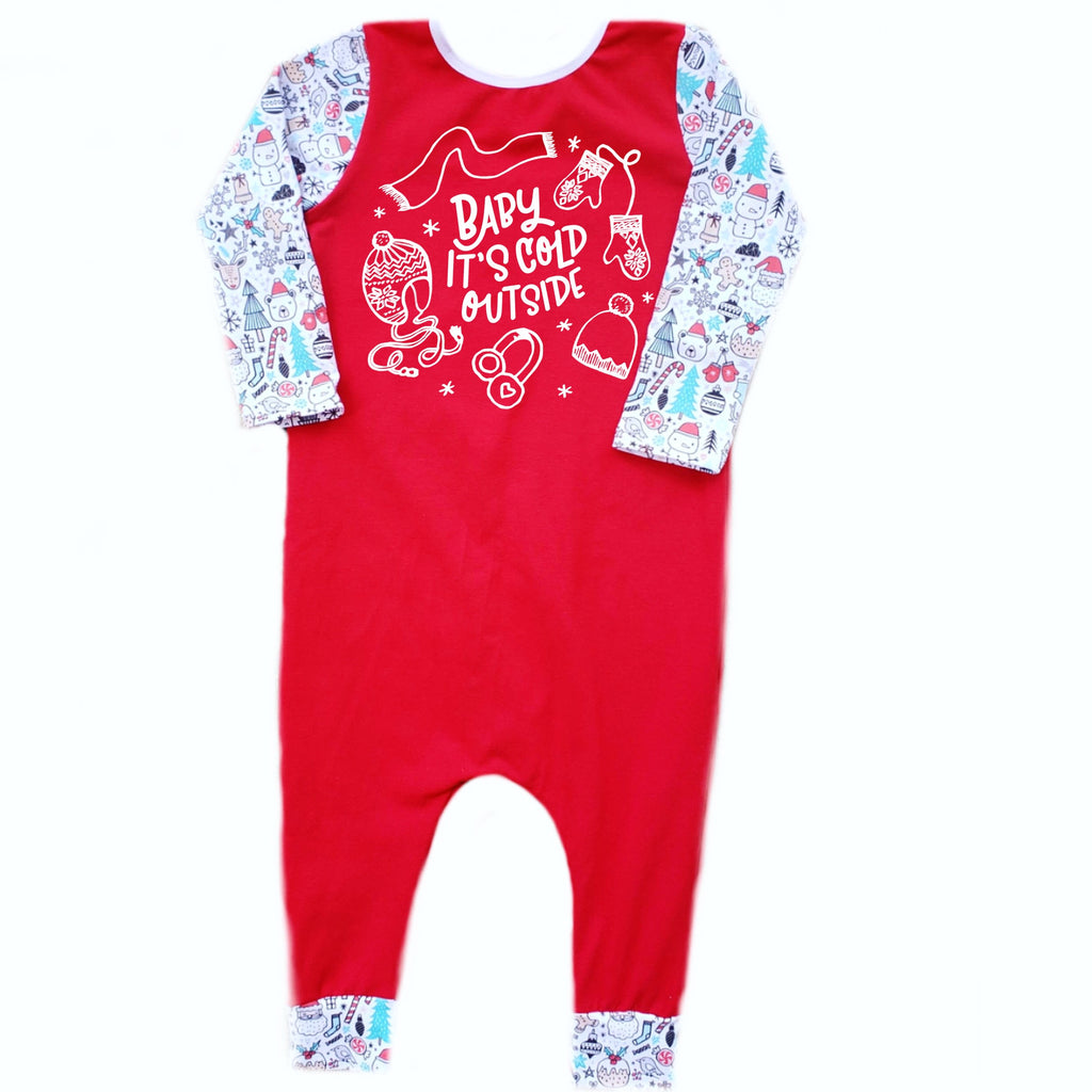 BABY IT'S COLD OUTSIDE RAGLAN/ROMPER