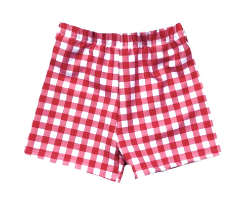 RED GINGHAM SPANDEX BOARD SHORT/EUROS