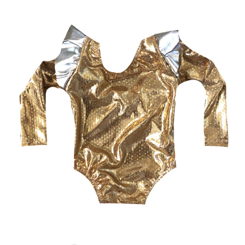 GOLD SEQUIN ON SILVER FOIL FLUTTER SLEEVE