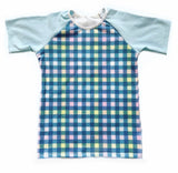 EASTER PLAID WITH BABY BLUE ON RAGLAN/ROMPER
