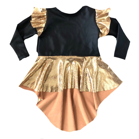 NEW YEARS PLEATHER DRAMATIC PEPLUM