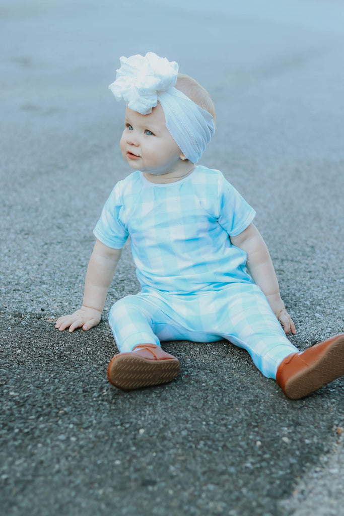 BLUE GINGHAM ON RAGLAN/ROMPER