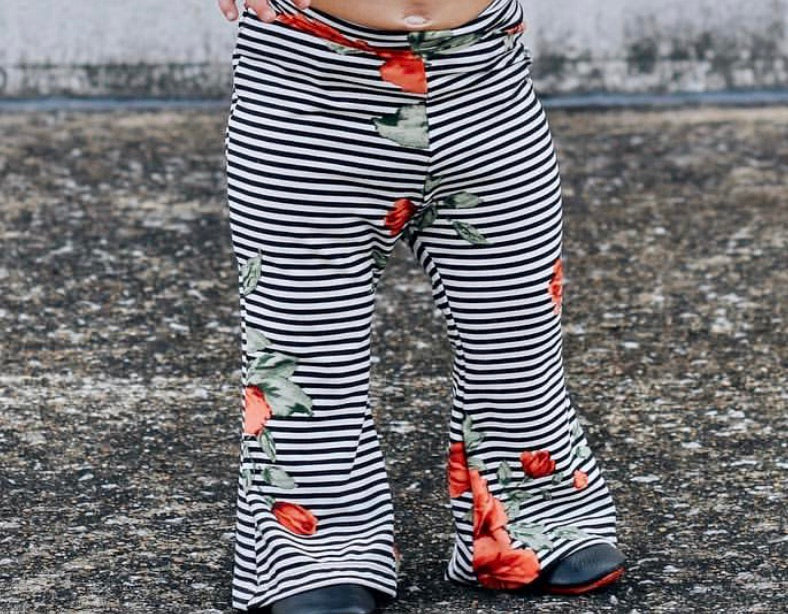 STRIPED RED FLORAL BELL BOTTOMS