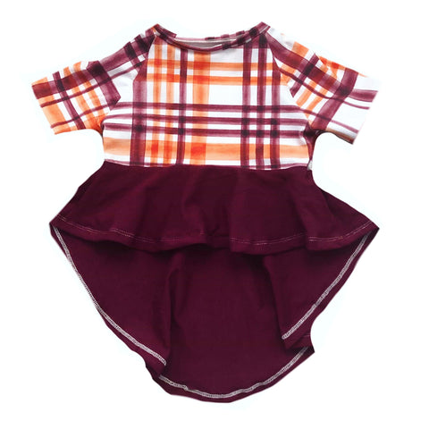 FALL PLAID/MAROON DRAMATIC PEPLUM