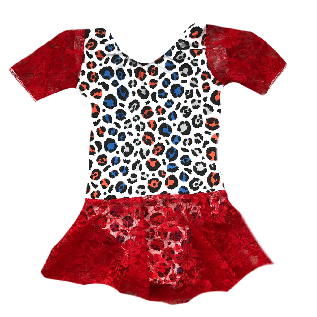 PATRIOTIC LEOPARD ON RED LACE