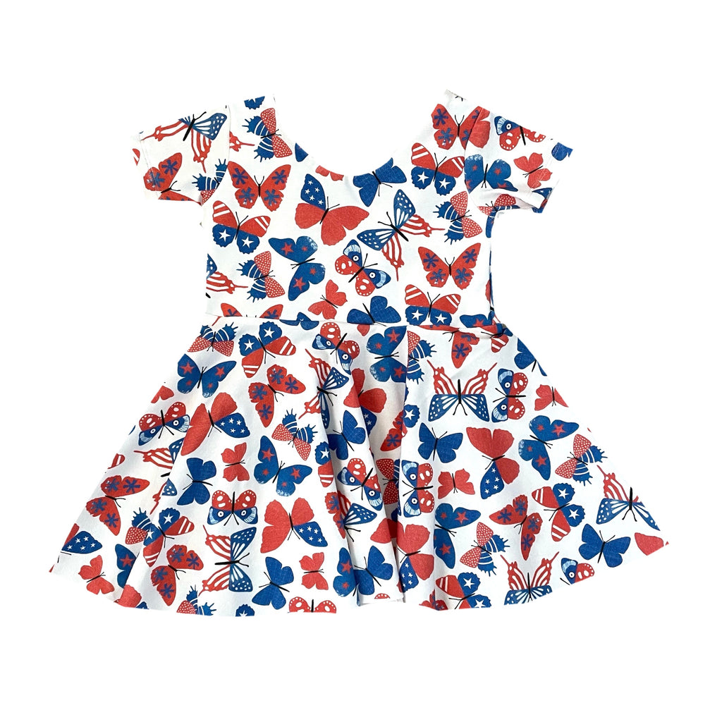 PATRIOTIC BUTTERFLIES *NEW* PEPLUM SHORT DRESS