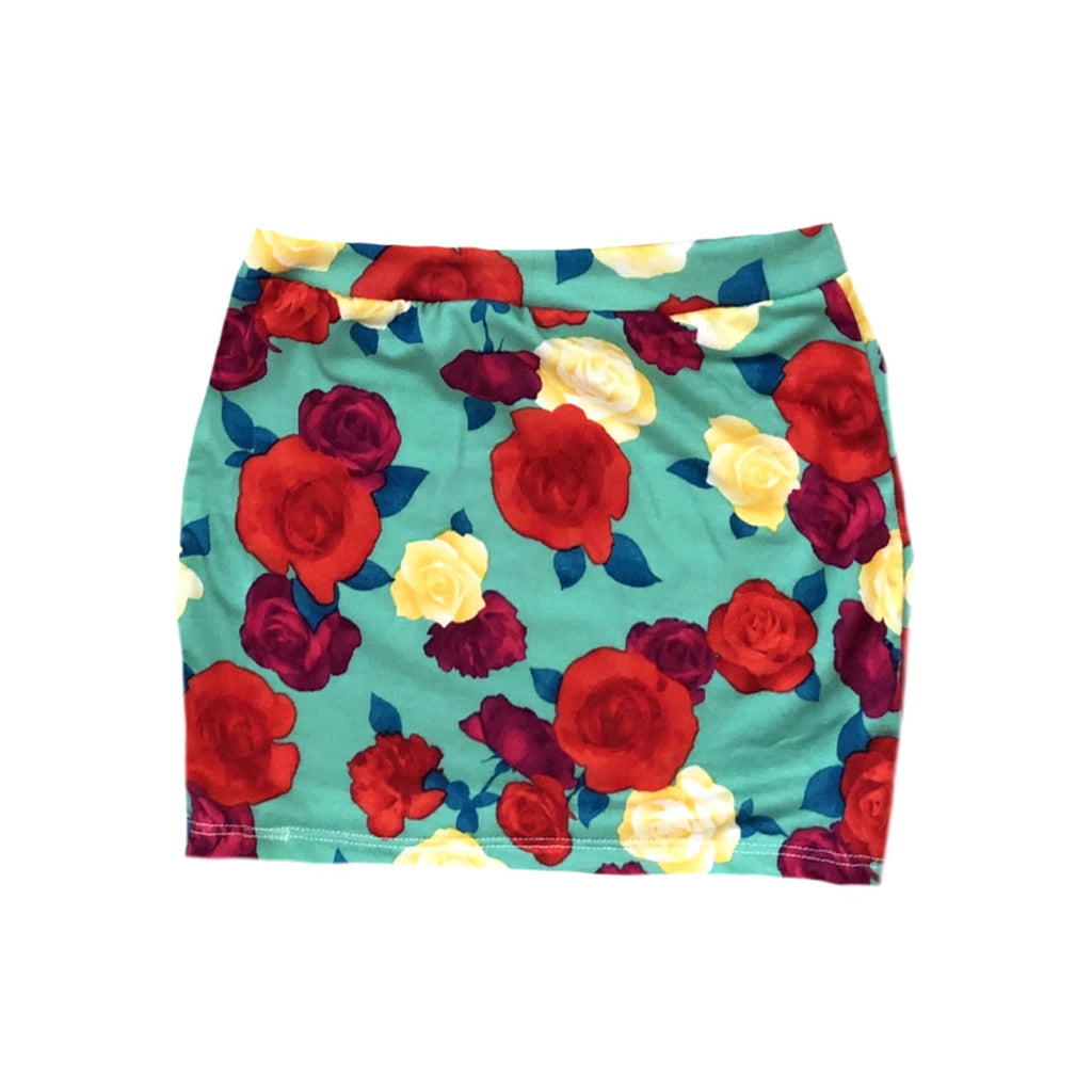 BLUE WITH RED/YELLOW FLOWERS MINI SKIRT