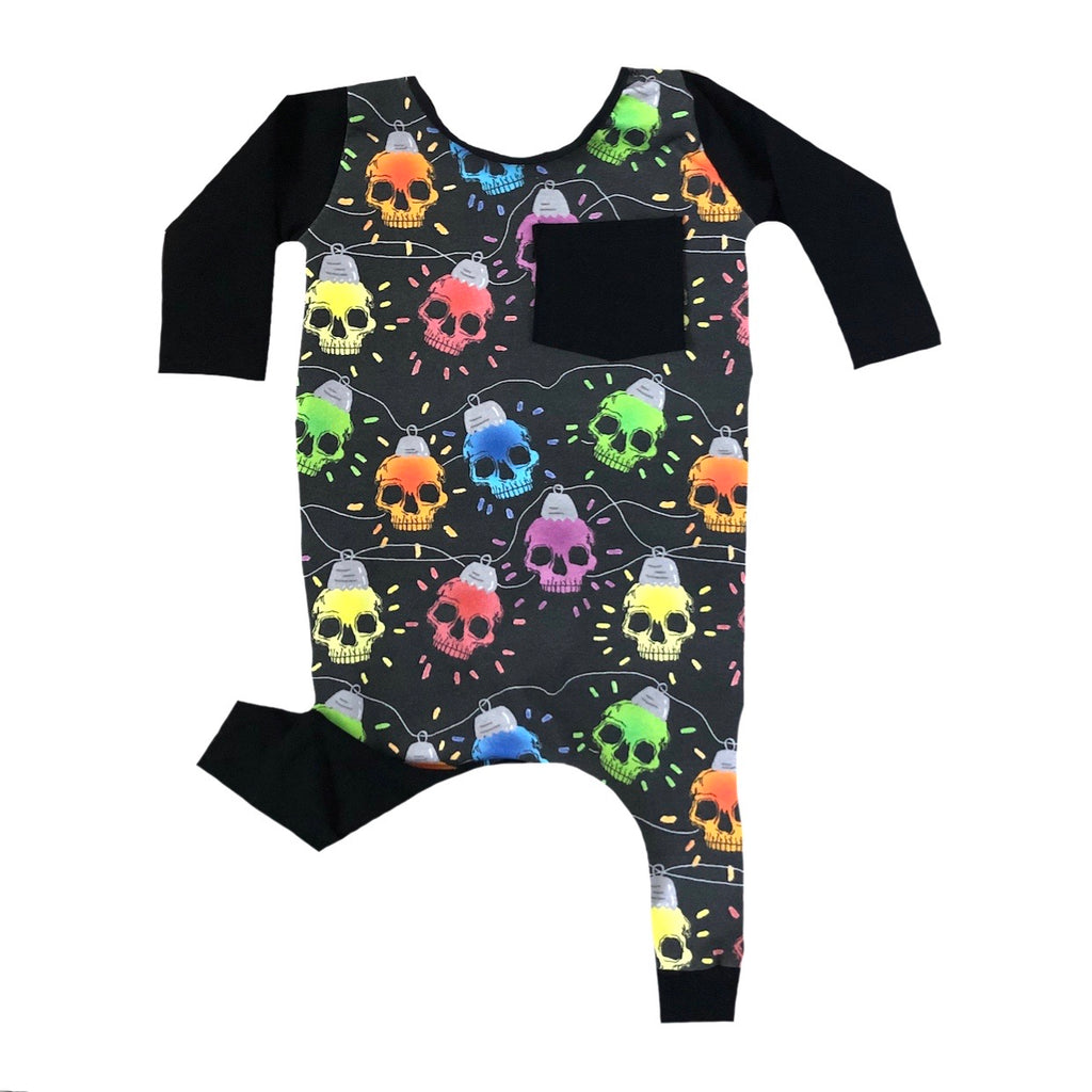 CHRISTMAS SKULL LIGHTS WITH BLACK ON RAGLAN/ROMPER