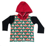 CHRISTMAS TRUCKS WITH RED ON HOODED TEE