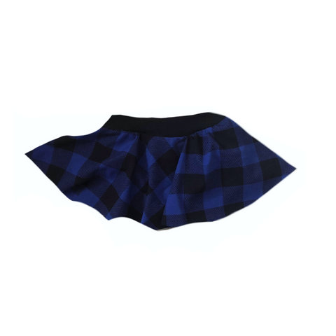 BLUE BUFFALO PLAID SKIRTED BUMMIES