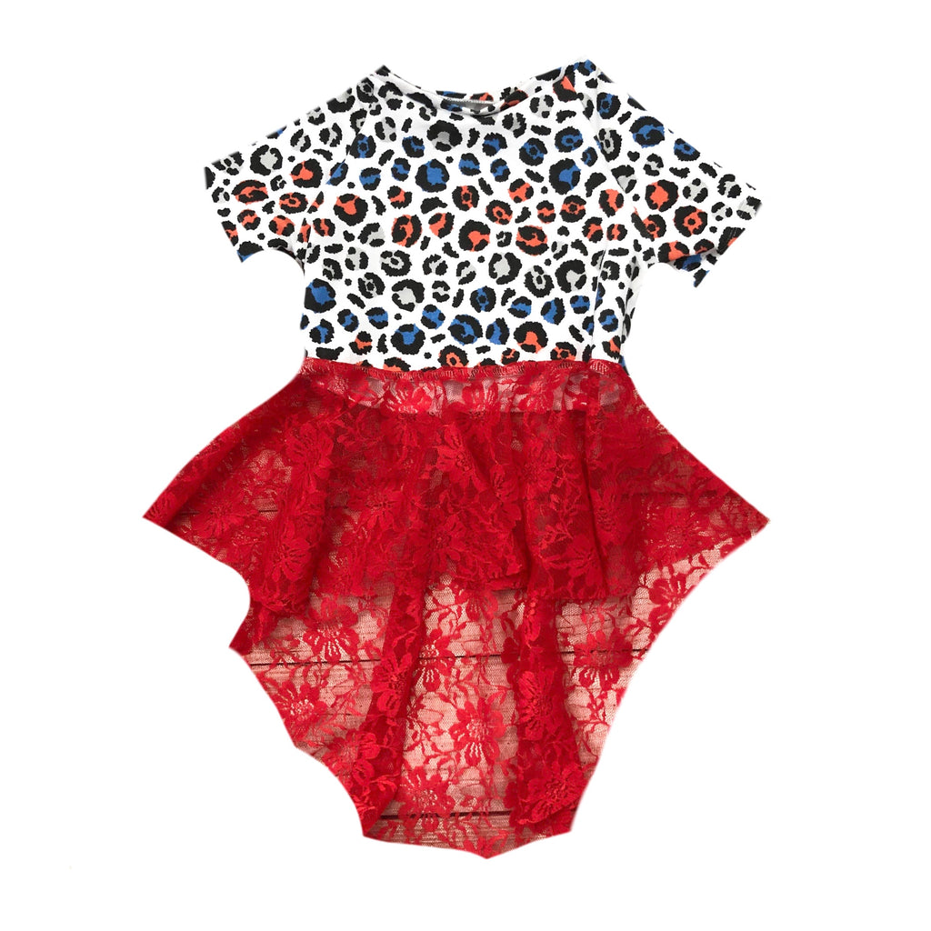 PATRIOTIC LEOPARD WITH RED LACE DRAMATIC PEPLUM