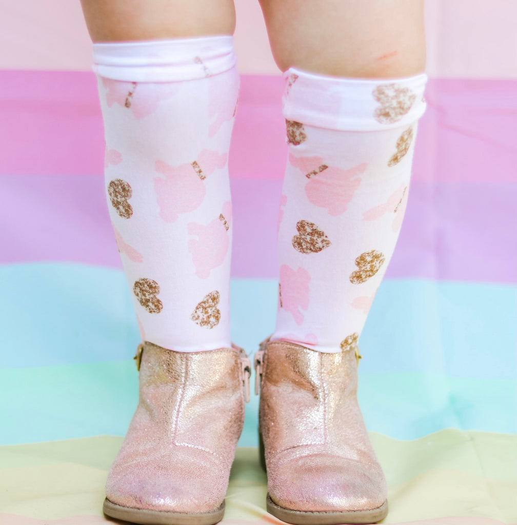 GOLD BUNNIES KNEE HIGHS