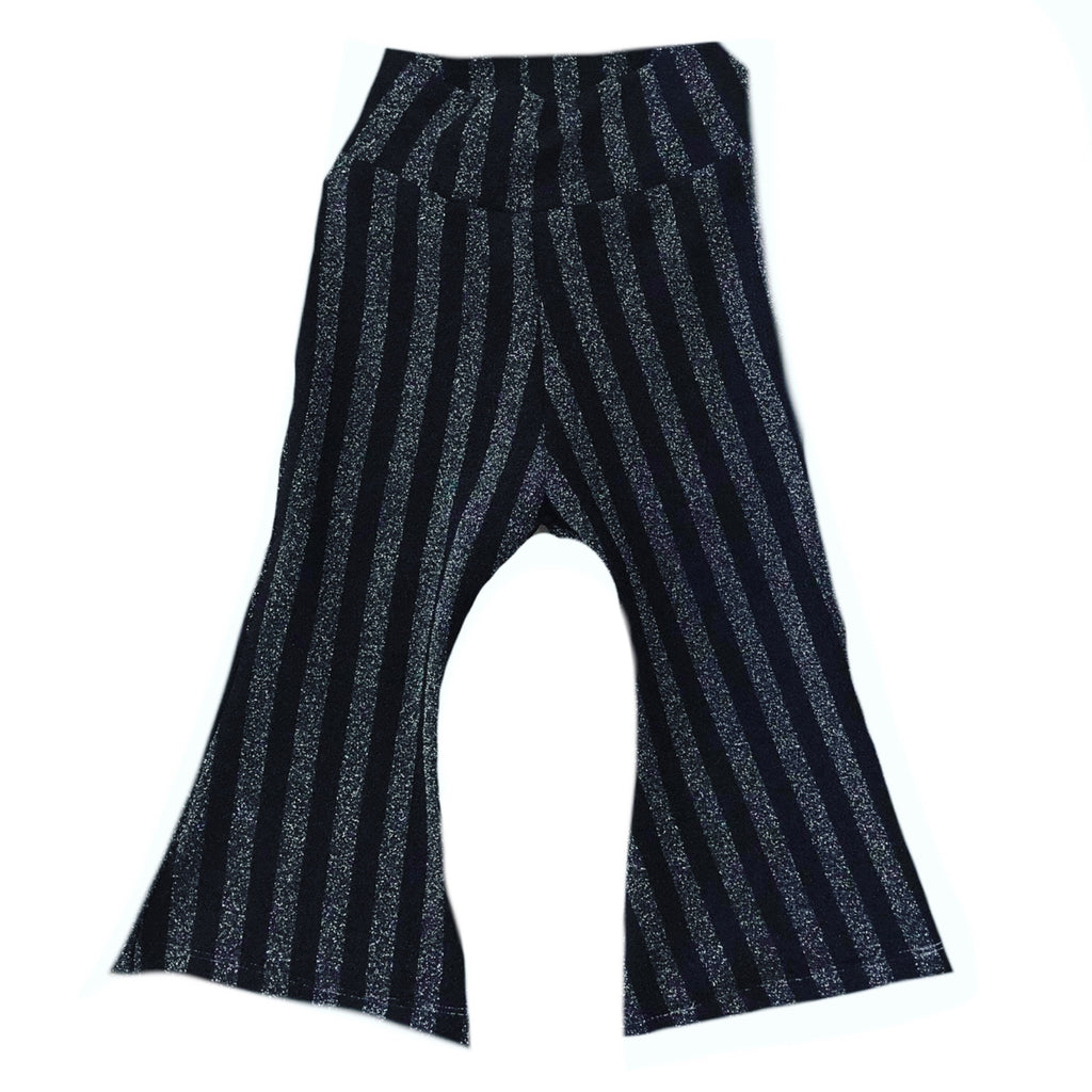 BLACK/SILVER GLITTER STRIPE  BELL BOTTOMS