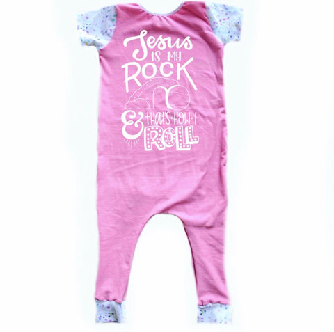 JESUS IS MY ROCK AND THATS HOW I ROLL ON RAGLAN/ROMPER