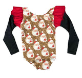 LEOPARD SANTAS LEOTARD WITH BLACK PLEATHER ON RED FLUTTER SLEEVE