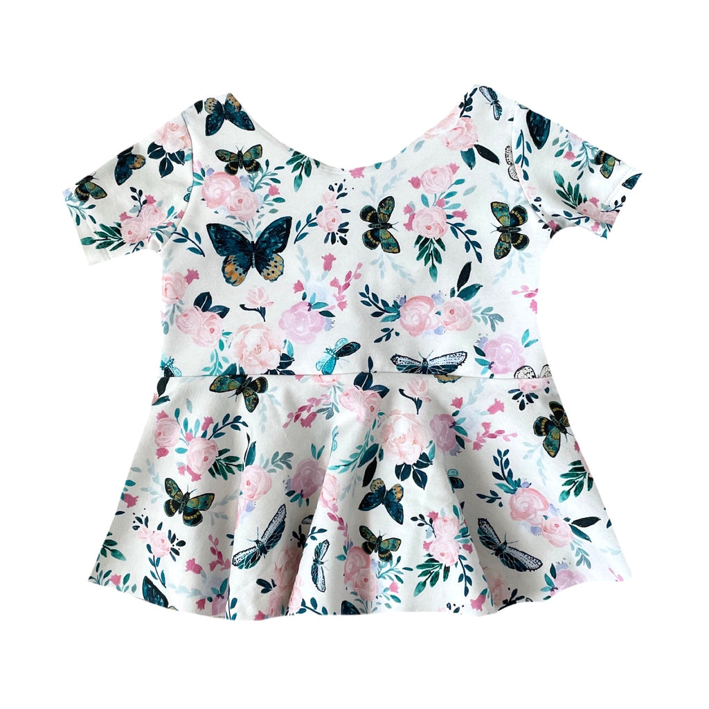 PINK FLORAL BLUE BUTTERFLIES *NEW* PEPLUM SHORT DRESS