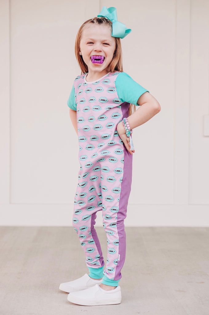 BLUE LIPS WITH PURPLE/TURQUOISE ON RAGLAN/ROMPER