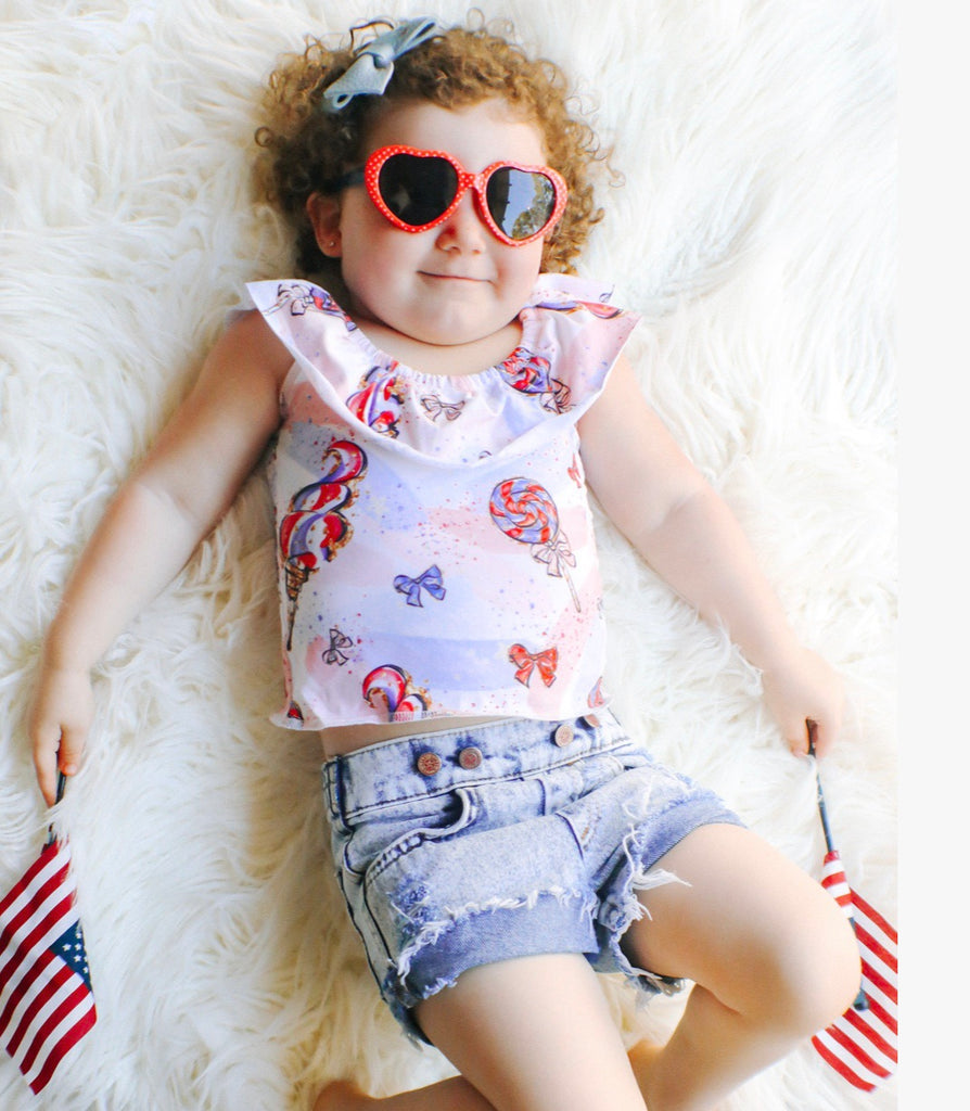 PATRIOTIC COTTON CANDY RUFFLE CROP