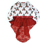 CHRISTMAS WAGON WITH RED LACE DRAMATIC PEPLUM