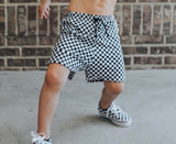 CHECKERED SPANDEX BOARD SHORT