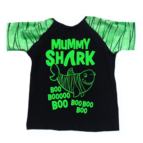 MUMMY SHARK ON RAGLAN/ROMPER