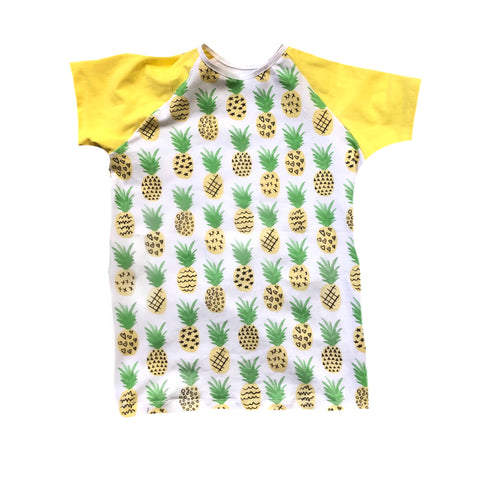 PINEAPPLES WITH YELLOW ON RAGLAN/ROMPER