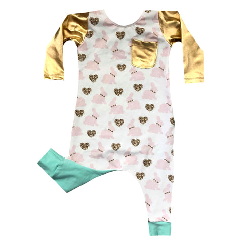 GOLD BUNNIES ROMPER