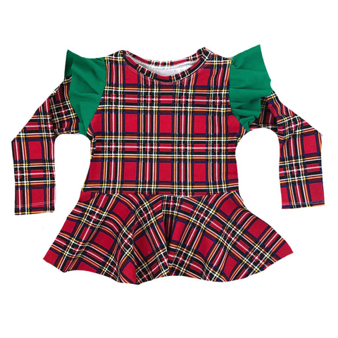 PS HOLIDAY PLAID ON GREED FLUTTER SLEEVE