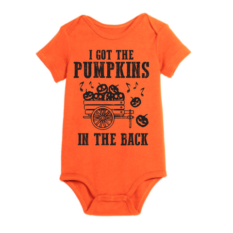 I GOT THE PUMPKINS IN THE BACK ON RAGLAN/ROMPER