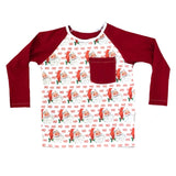 HO HO SANTA WITH RED ON RAGLAN/ROMPER
